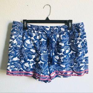 LOFT Linen Blend Drawstring Shorts Large